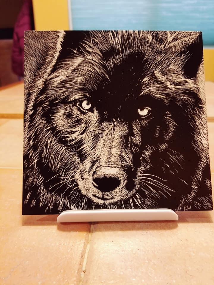 customer art of a wolf with testimonial