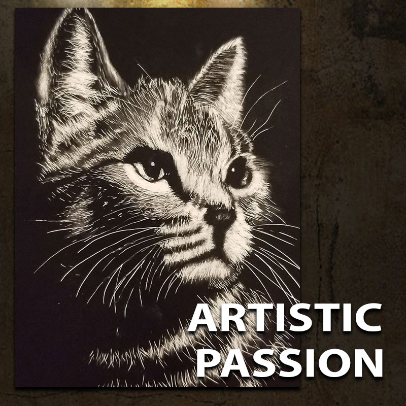 "Customer art of a cat and testimonial with headline ""Artistic Passion"""